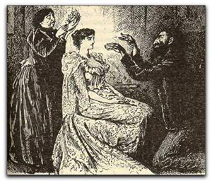 Ilustración original del propio Du Maurier para su novela en donde aparece Svengali magnetizando a Trilby