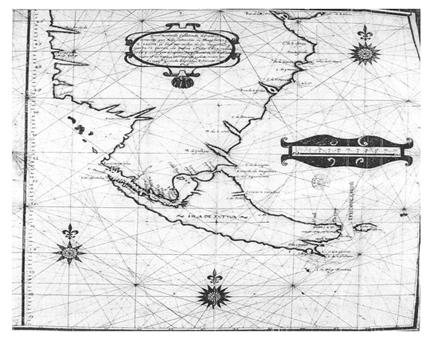 Mapa de Diego Ramírez de Arellano de la zona reconocida durante la expedición