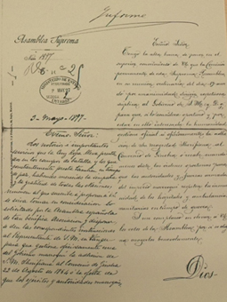 Request of the Spanish Red Cross to the Ministry of Foreign Affairs on the adherence of the Sultan of Morocco to the Geneva Convention (May, 1897). Source: AMAEC.