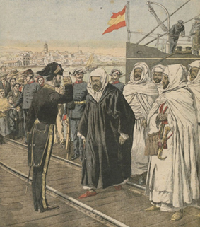 Sidi Mohammed Torres and Moroccan delegates landing at Algeciras to attend the international conference. Source: <i>Le Petit Journal, Supplement de Dimanche</i>, 21/1/1906.