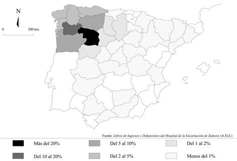 Procedencia geográfica de los fallecidos en el Hospital de la Encarnación de Zamora (1680-1766)