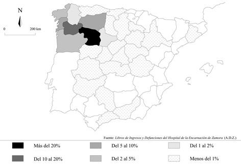 Procedencia geográfica de los ingresados en el Hospital de la Encarnación de Zamora (1767-1770)