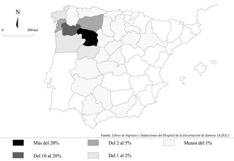 Procedencia geográfica de los ingresados en el Hospital de la Encarnación de Zamora (1780-1781)