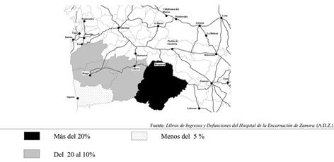 Distribución comarcal de los ingresados portugueses en el Hospital de la Encarnación de Zamora (1680-1781)