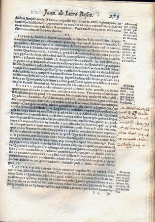 Christoph Clavius, In sphaeram Ioannis de Sacrobosco, Venecia, 1591, página 279. Colección Sala Medina, Biblioteca Nacional de Chile (reproducción de Biblioteca Nacional de Chile)