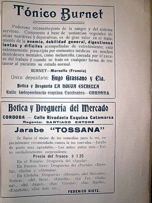 Publicidades de las Boticas y Droguerías «La Nueva Estrella» y «del Mercado»