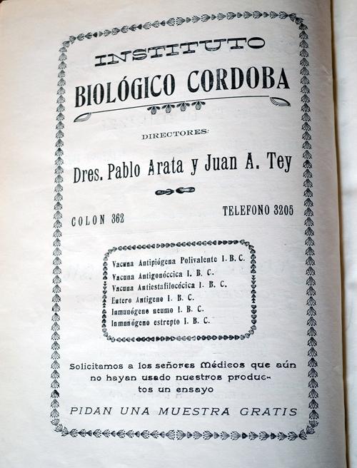Publicidad del laboratorio «Instituto Biológico Córdoba»