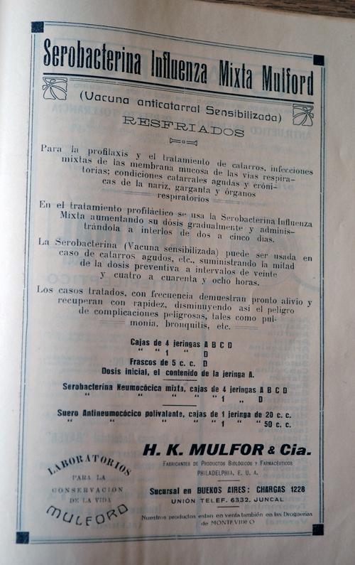Publicidad de laboratorio «Mulford»