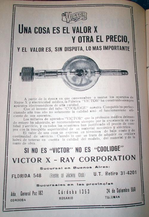 Publicidad de la empresa «Victor X-Ray Corporation»