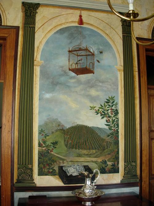 Pintura parietal en  del comedor de la hacienda , Bananal, São Paulo, c.1860; fotografía de Reinaldo Funes Monzote, noviembre de 2005.