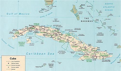 Mapa de Cuba. La provincia de Santa Clara fue el límite entre el occidente azucarero y el este más diversificado hasta inicios del siglo XX