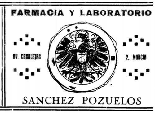 Publicidad de la farmacia Sánchez Pozuelos, ilustración de Luis Gil de Vicario. <em>Murcia Deportiva</em>, 1 abril 1923 [extraordinario], p. 40