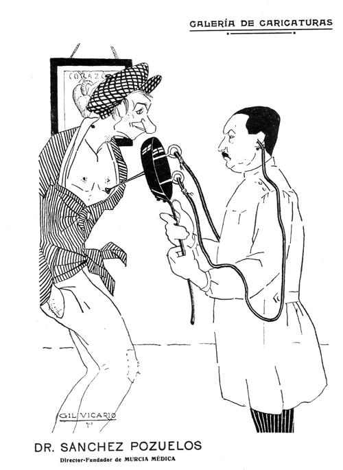 Caricatura de Jos&eacute; S&aacute;nchez Pozuelos realizada por Gil de Vicario. <em>Murcia Médica</em>, 1917, 3 (25)