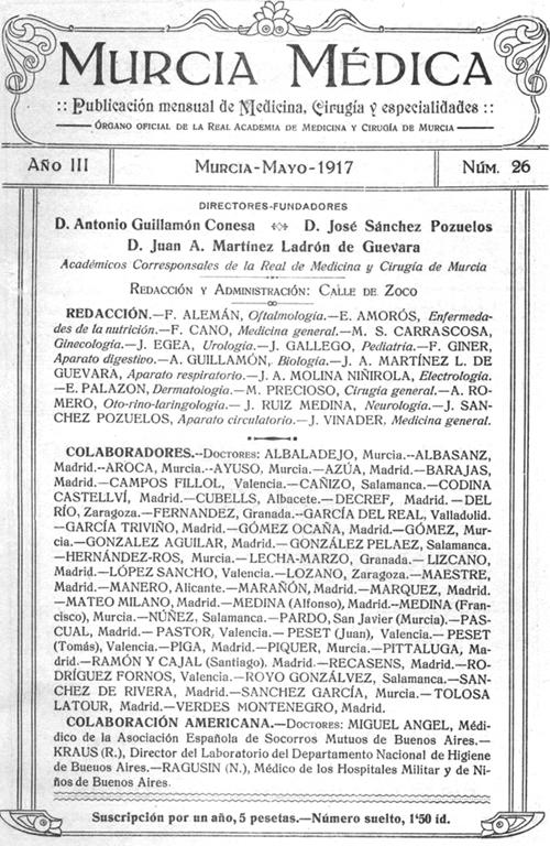 Primera p&aacute;gina de <em>Murcia Médica</em> 1917, 3 (26)