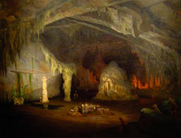 Caverna de Cacahuamilpa, 1835, pintura realizada por el barón de Gros. «Historia de la espeleología», Web, 2013
