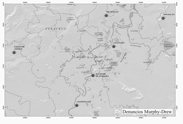 Localización de los denuncios de Murphy y Drew. (Elaboración gráfica Mayelli Hernández)