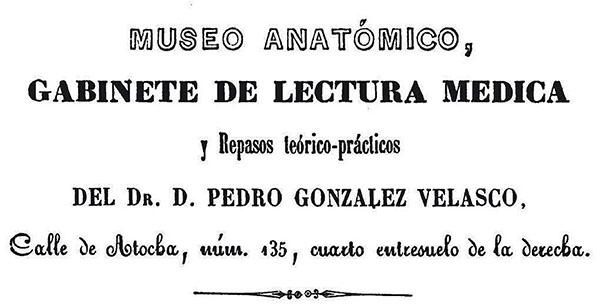 Anuncio del Museo Anatómico de Atocha 135 (González Velasco, 1854: 90)