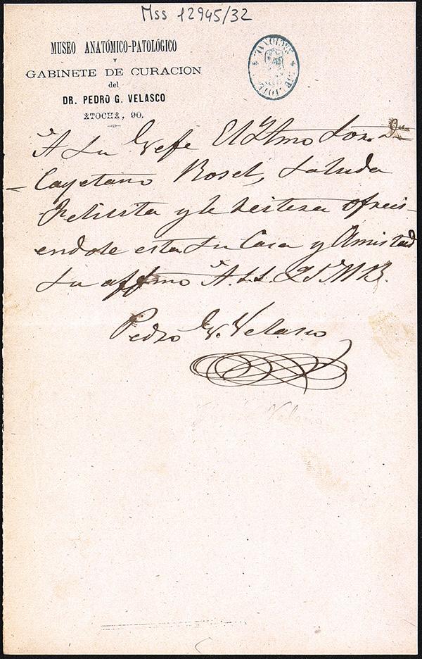 Carta manuscrita de Velasco con membrete del Museo Anatómico-Patológico de Atocha 90 (Biblioteca Nacional, mss. 12945/32)