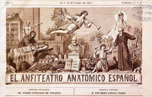 Cabecera de El Anfiteatro Anatómico Español (enero de 1873)