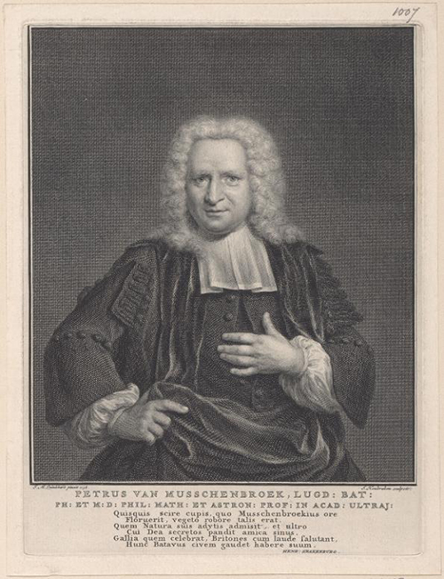 Engraving by Jacob Houbraken of Petrus van Musschenbroek which is based on a painting by Jan Maurits Quinckhard (1738