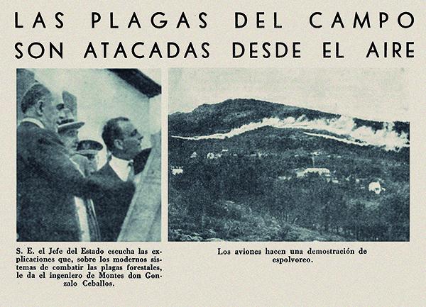 Francisco Franco y Gonzalo Ceballos en una exhibición de fumigaciones aéreas contra la plaga de la lagarta en Pinar Gordo (Soria). Imágenes publicadas en el Boletín Informativo del Instituto de Ingenieros Civiles de España ()