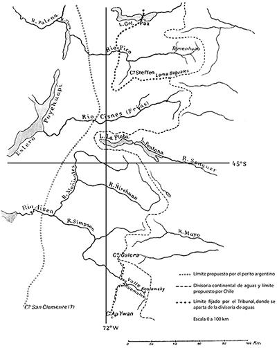 H. Steffen: Fijación de límites al norte y sur del 45º S