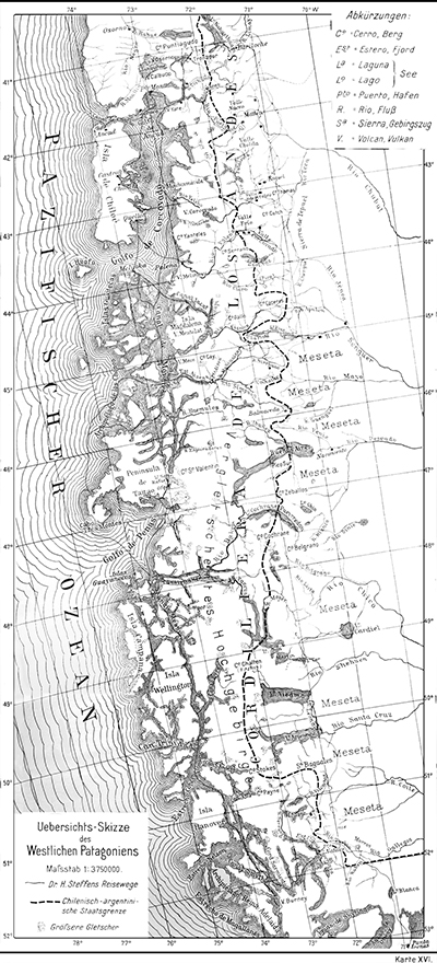 H. Steffen: Mapa sinóptico de la Patagonia Occidental