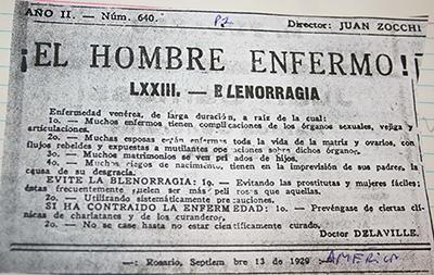 Serie: «El hombre enfermo»-Blenorragia, América, Rosario, 13/09/1929