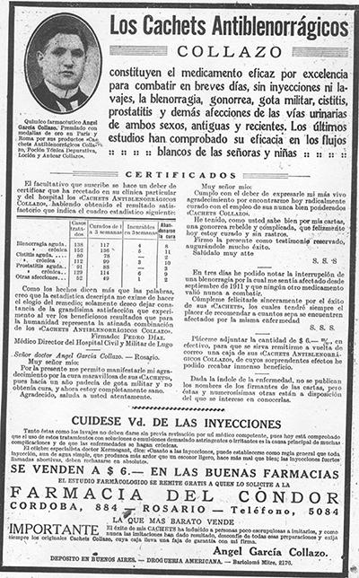 Cachets Antiblenorrágicos Collazo- Caras y Caretas. Semanario festivo, literario, artístico y de actualidades, Año XXIII, Nº 1107, 20/12/1919- Buenos Aires