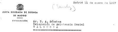 Oficio de la Junta de Defensa de Madrid relativo a la evacuación de la población civil. Fuente: Sección de Evacuación de la Junta de Defensa de Madrid. 11 enero 1937. D.6.1 caja 20. A.D.P.V.