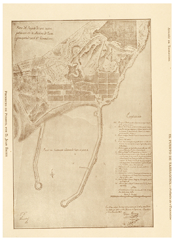 Plano de los proyectos de una nueva población de la marina de Tarragona y de la ampliación del puerto realizados por Juan Smith Sinnot, que se encuentra en la Biblioteca Pública Arús de Barcelona