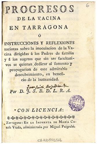 Portada del libro de Juan Smith perteneciente a Fèlix Torres Amat que se encuentra en fondo Torres Amat de la Biblioteca de Catalunya, donde puede apreciarse escrito a mano el nombre de Juan Smith, Brigadier